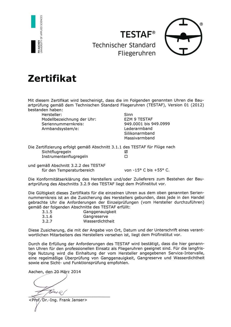 TESTAF-Zertifikat des EZM 9