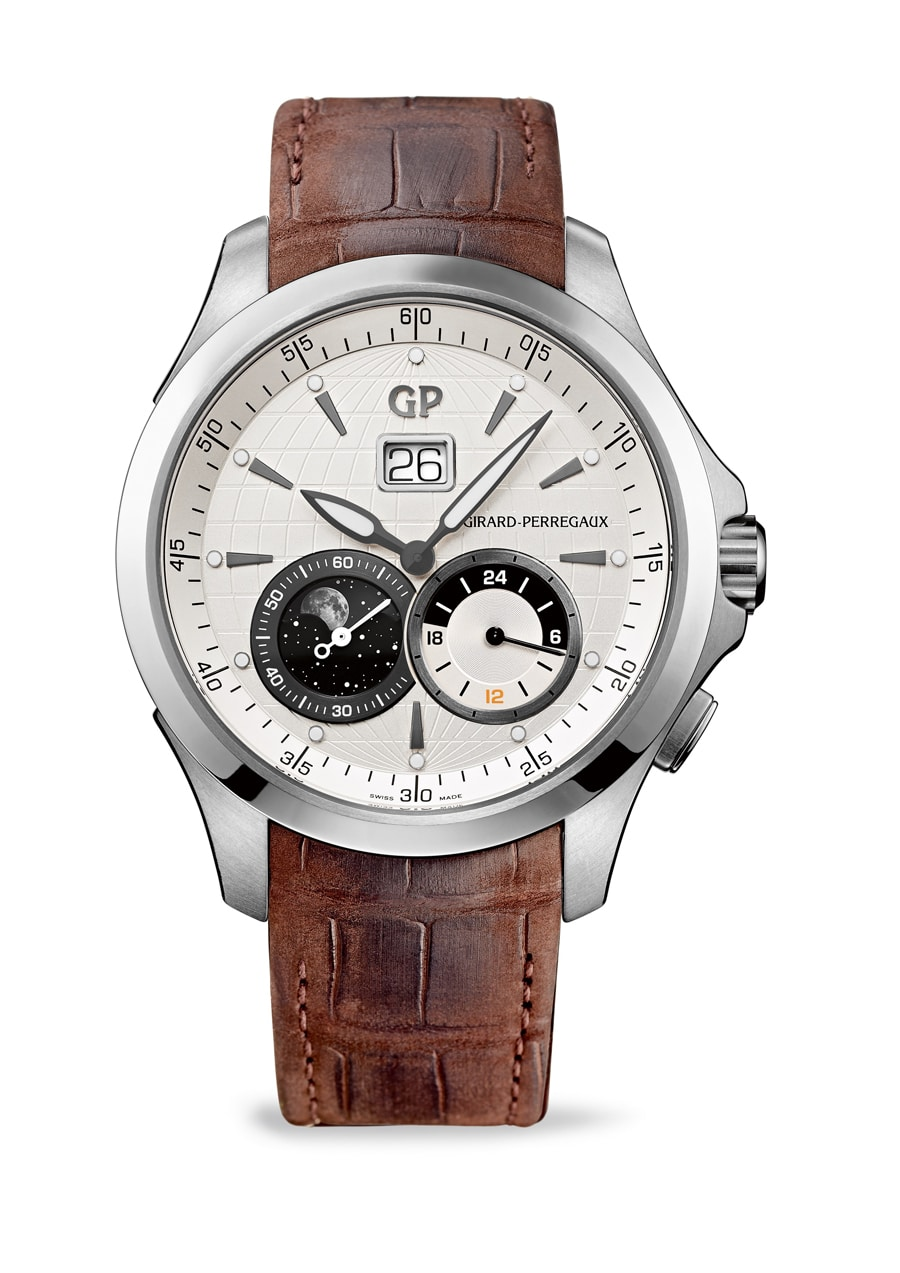 Girard-Perregaux:<br/> Traveller Large Date,<br/>Moon Phases & GMT  in Edelstahl