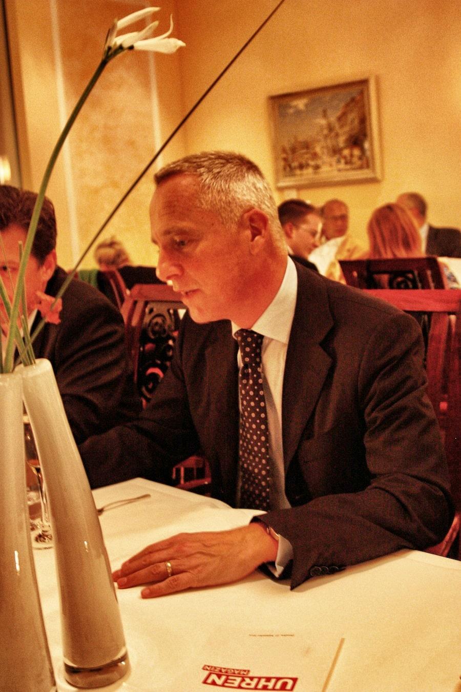 Wilhelm Schmid, CEO von A. Lange & Söhne beim abendlichen Gedankenaustausch mit den UHREN-MAGAZIN-Lesern.