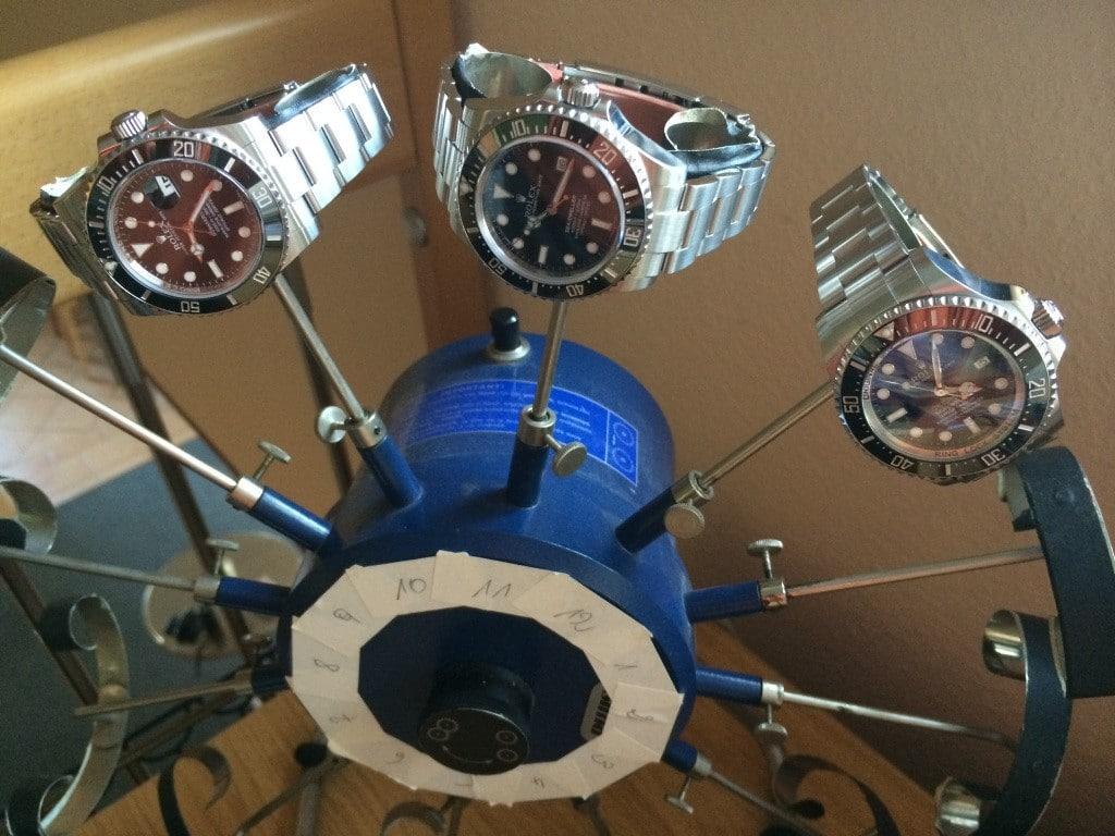 Gangtest: Uhren von Rolex auf dem Uhrenbeweger