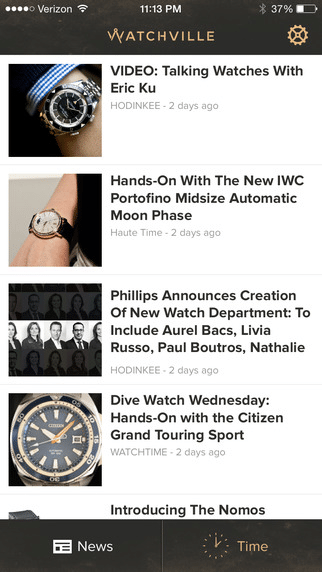 Mit der Watchville App behält man den Überblick über das Online-Nachrichtenangebot zur Uhrenbranche.