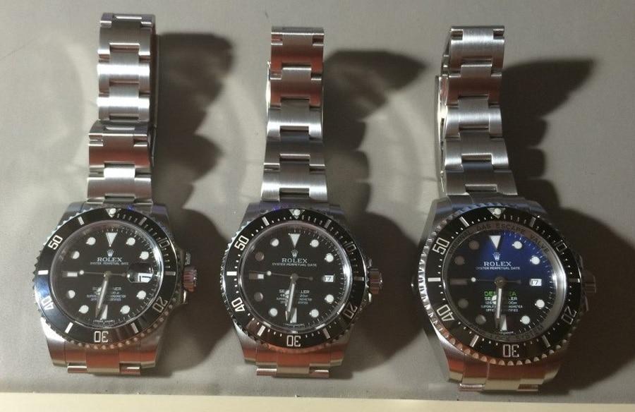 Die Rolex Submariner, Deepsea und Sea-Dweller sind sekundengenau eingestellt und warten auf ihren Zeitwaagencheck