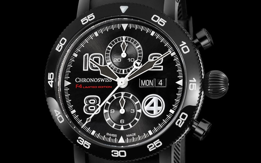 Chronoswiss: Timemaster Chronograph Day Date F4 Zifferblattdetail