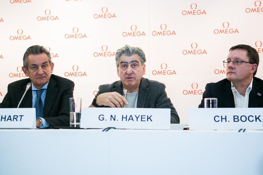 Pressekonferenz: Omega-Präsident Stephen Urquhart, Swatch-Group-Chef Nick Hayek und METAS-Direktor Dr. Christian Bock (v. l.) erläuterten das neue Prüfverfahren