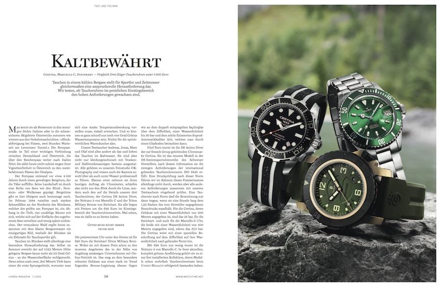 Die Modelle von Certina, Marcello C und Steinhart beweisen im eiskalten Bergsee ihre Qualitäten.