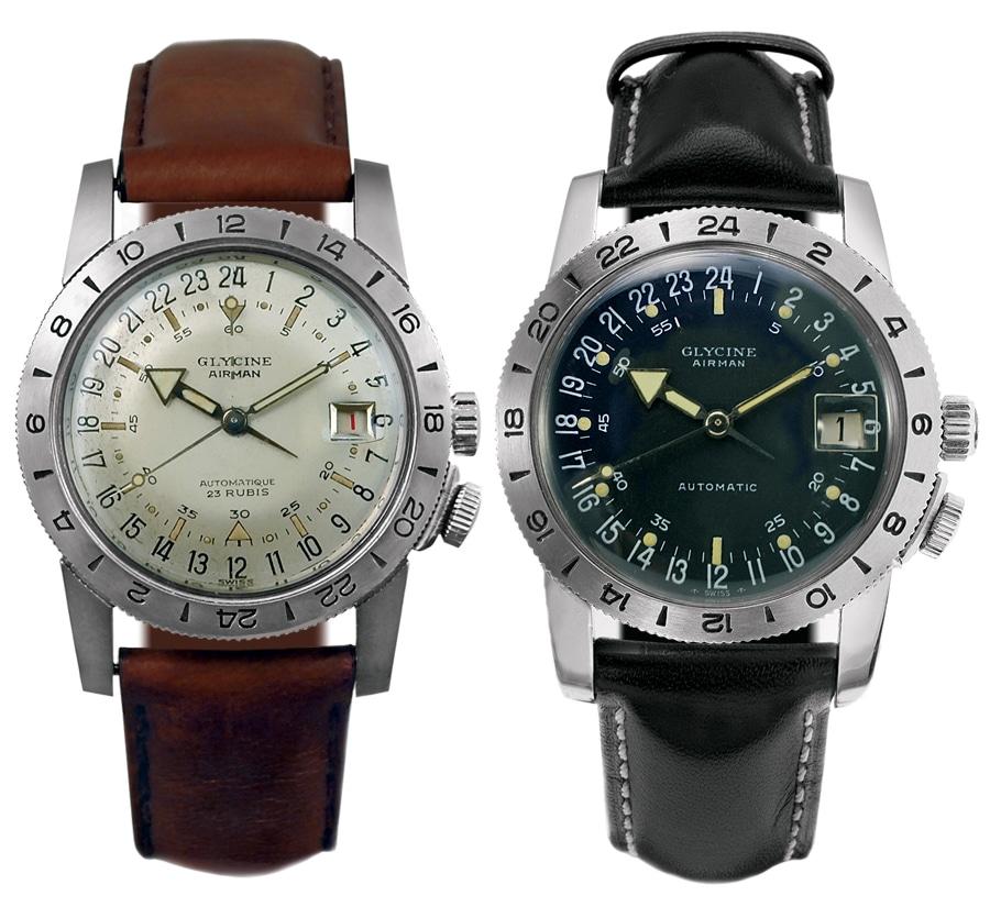Glycine: Die Airman 1 ist 1953 die erste Weltzeituhr mit 24-Stunden-Zifferblatt und einer zweiten Zeitzone.