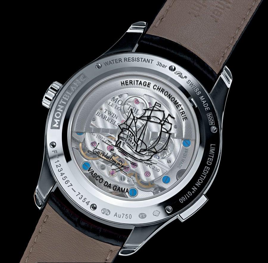 Montblanc: Heritage Chronométrie ExoTourbillon Minute Chronograph Vasco da Gama Limited Edition 60, Rückseite