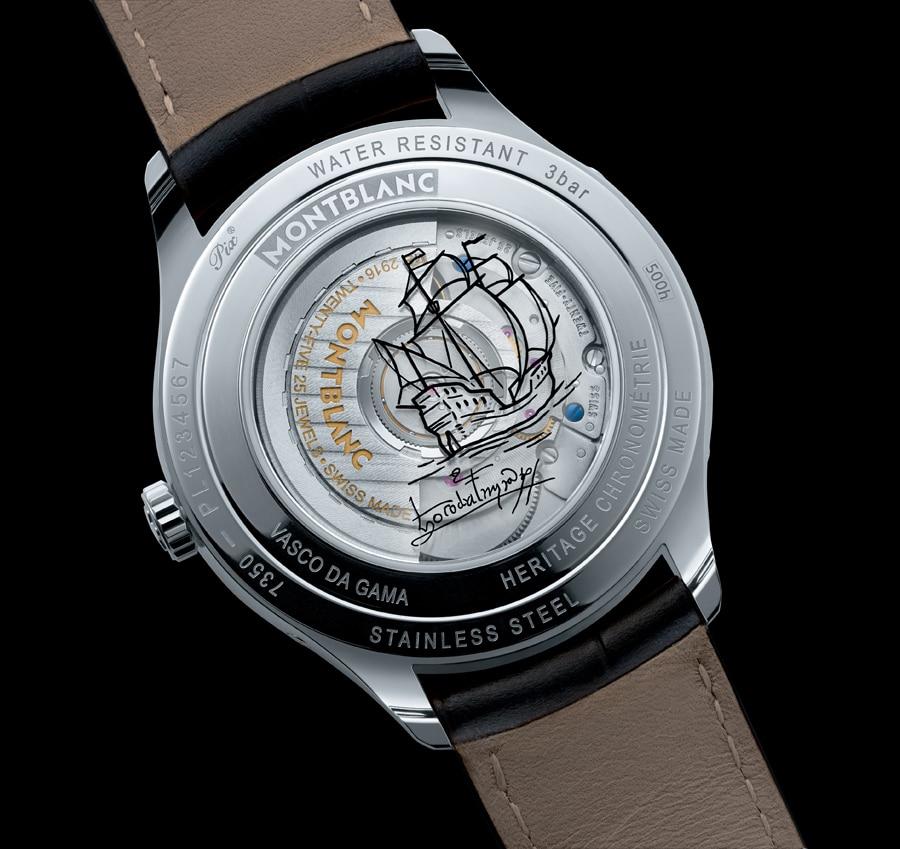 Die Rückseite des Heritage Chronométrie Quantième Complet Vasco da Gama von Montblanc