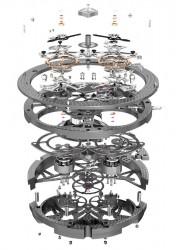 Das Roger Dubuis Doppeltourbillon-Skelettkaliber RD01SQ setzt sich aus 301 Einzelteilen zusammen.