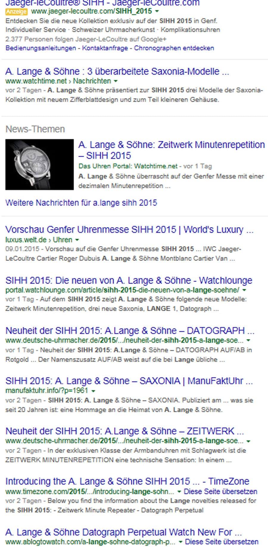 Google-Suchergebnis für A. Lange & Söhne während des Genfer Uhrensalon SIHH 2015
