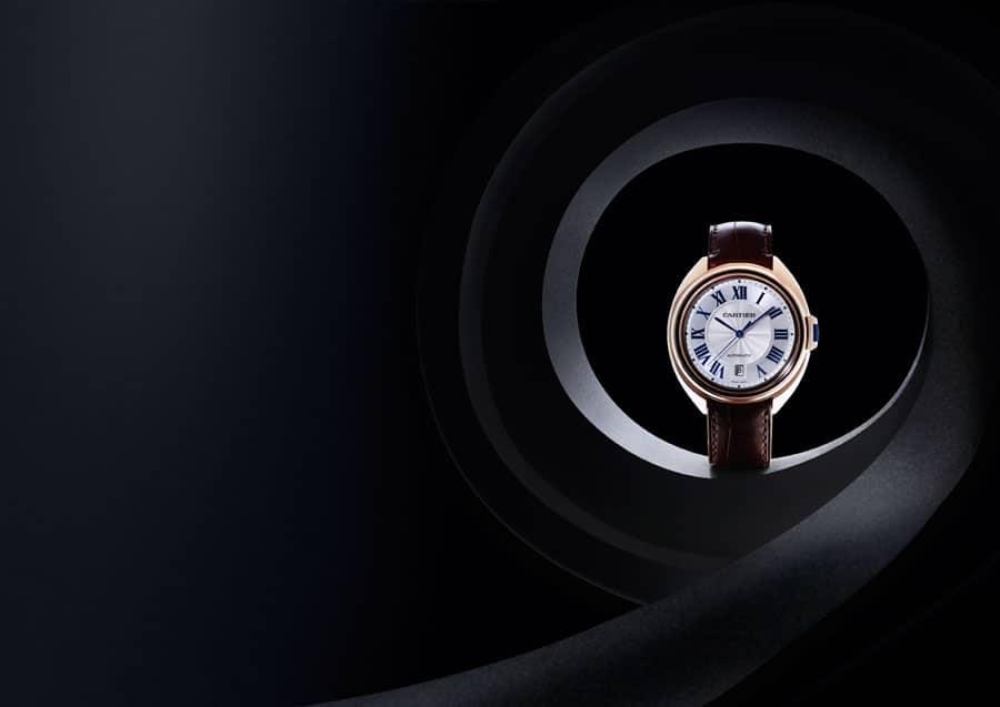 Cartier: Clé, Roségoldgehäuse mit Krokolederband