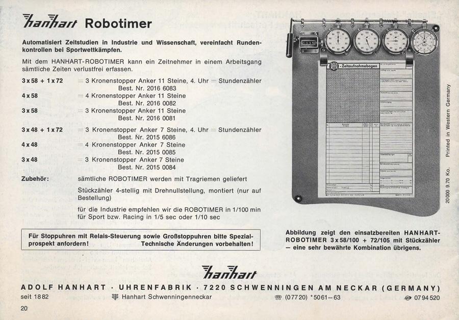 Der legendäre Hanhart Robotimer