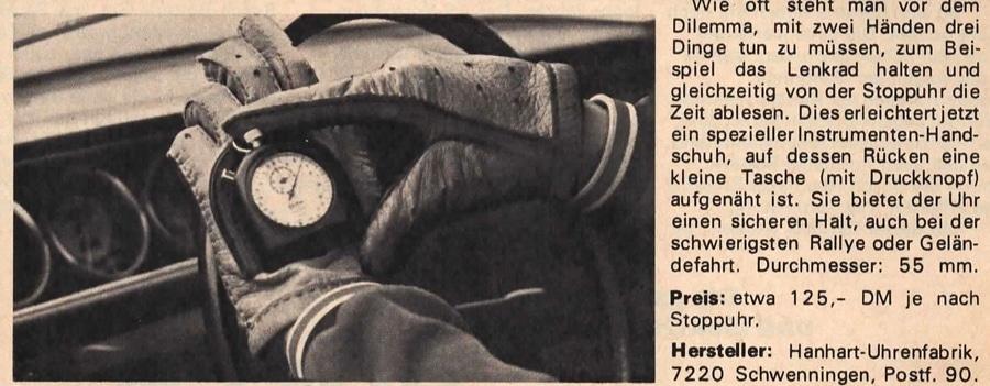 Hanhart: Stoppuhrenwerbung für den Automobilsport
