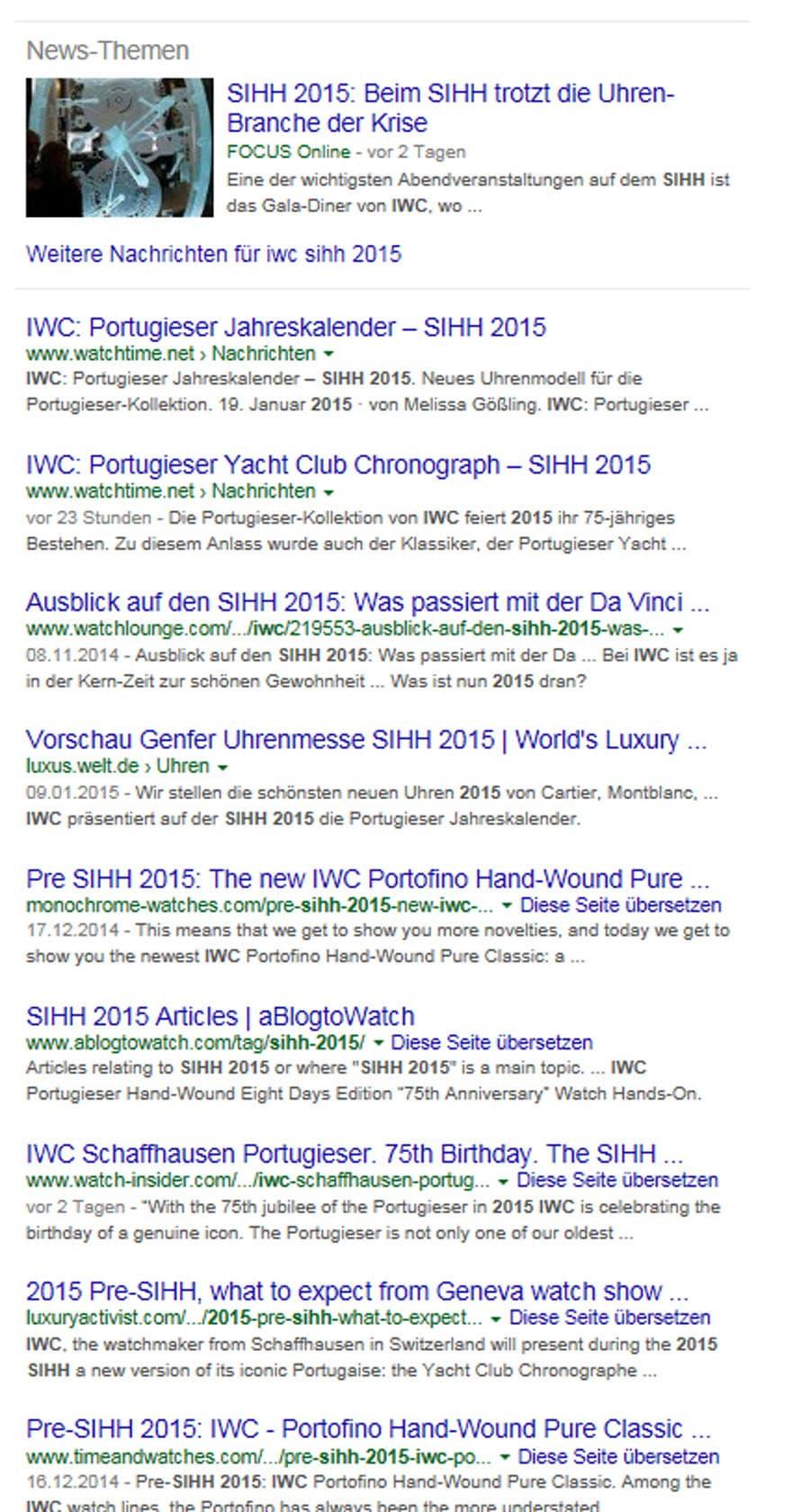 Google-Suchergebnis für IWC während des Genfer Uhrensalon SIHH 2015