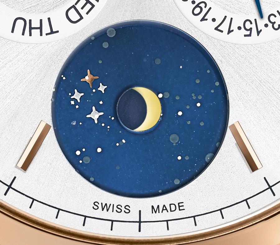 Im Sternenhimmel der Mondphasenanzeige ist das Kreuz des Südens zu erkennen.