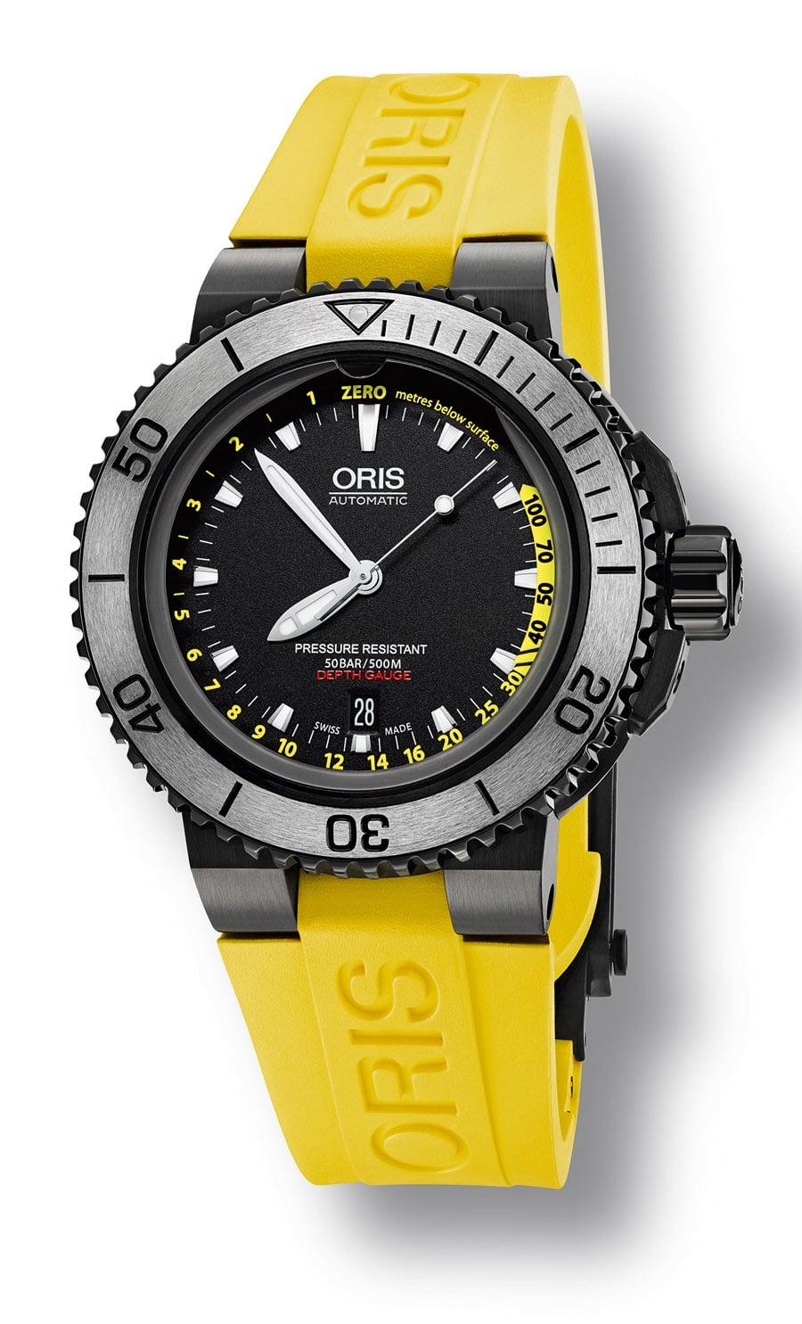Oris: Aquis Depth Gauge Yellow, gelbes Armband