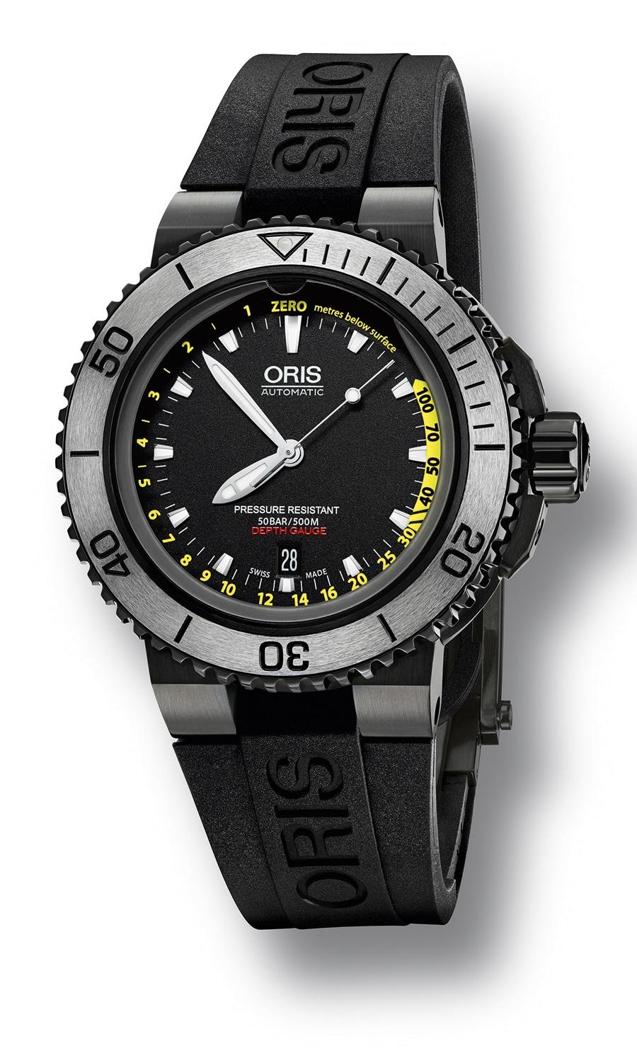 Oris: Aquis Depth Gauge Yellow, schwarzes Armband