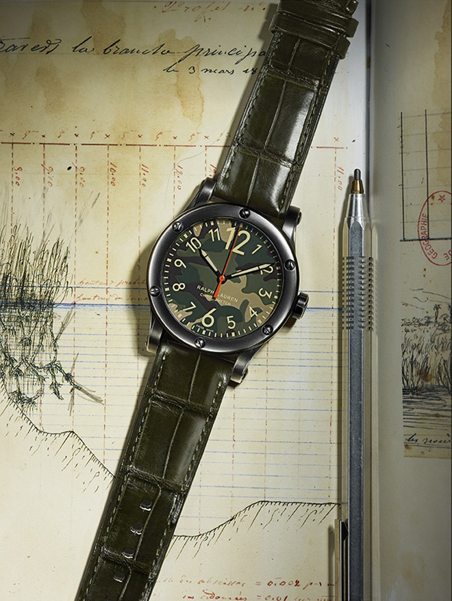Ralph Lauren: RL67 Safari Chronometer, Flecktarnzifferblatt, 45 Millimeter