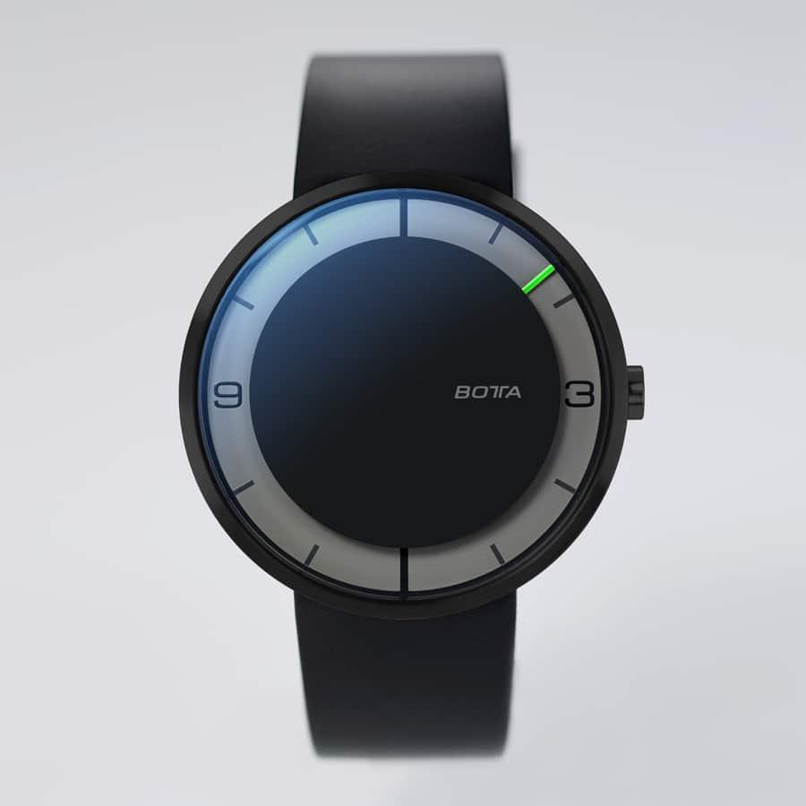 Botta Design: Nova Zeitraumuhr, schwarz PVD-beschichtetes Stahlgehäuse