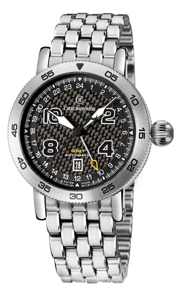 Chronoswiss: Timemaster GMT mit Carbon-Zifferblatt und Edelstahlband