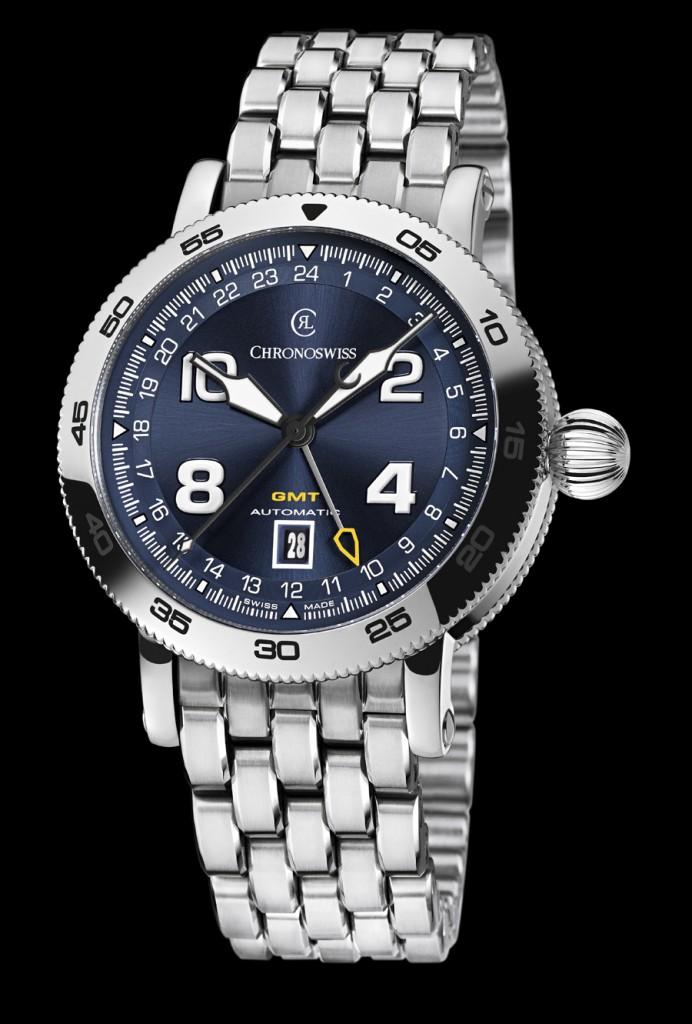 Chronoswiss: Timemaster GMT mit blauem Zifferblatt und Edelstahlband