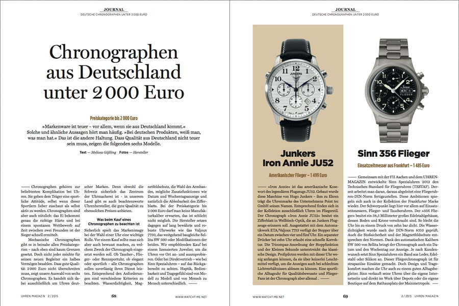 chronographen unter 2000 euro im uhren magazin 2 2015 das uhren portal. Black Bedroom Furniture Sets. Home Design Ideas