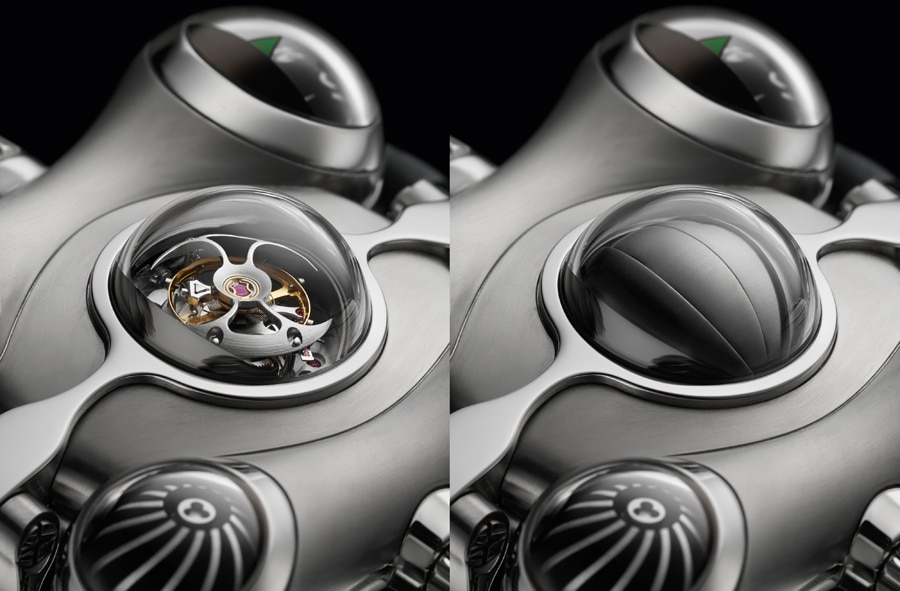 MB&F: HM6 Space Pirate, Tourbillon mit schließbarer Kuppel