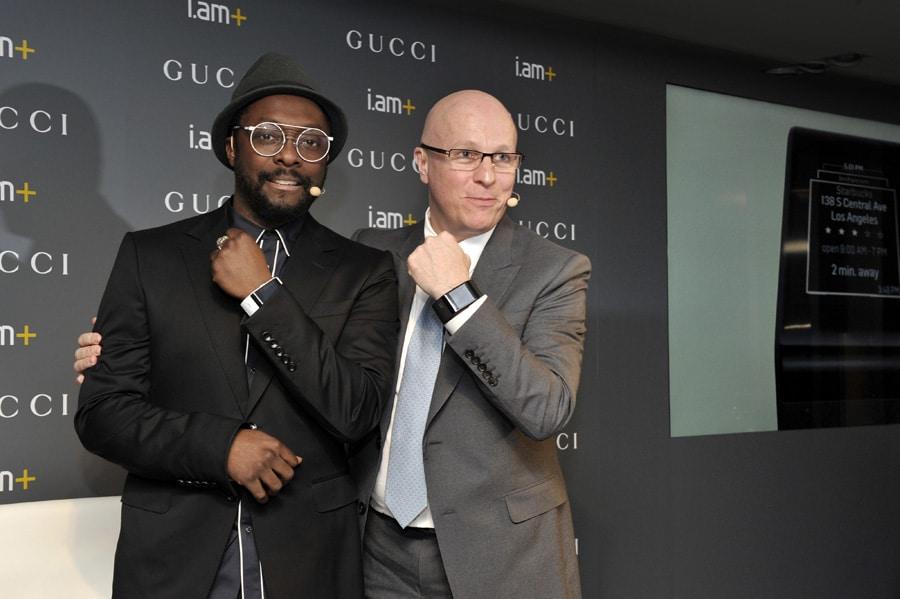 """Will I Am, Sänger der Band """"The Black Eyed Peas"""", und Gucci-CEO Stéphane Linder"""