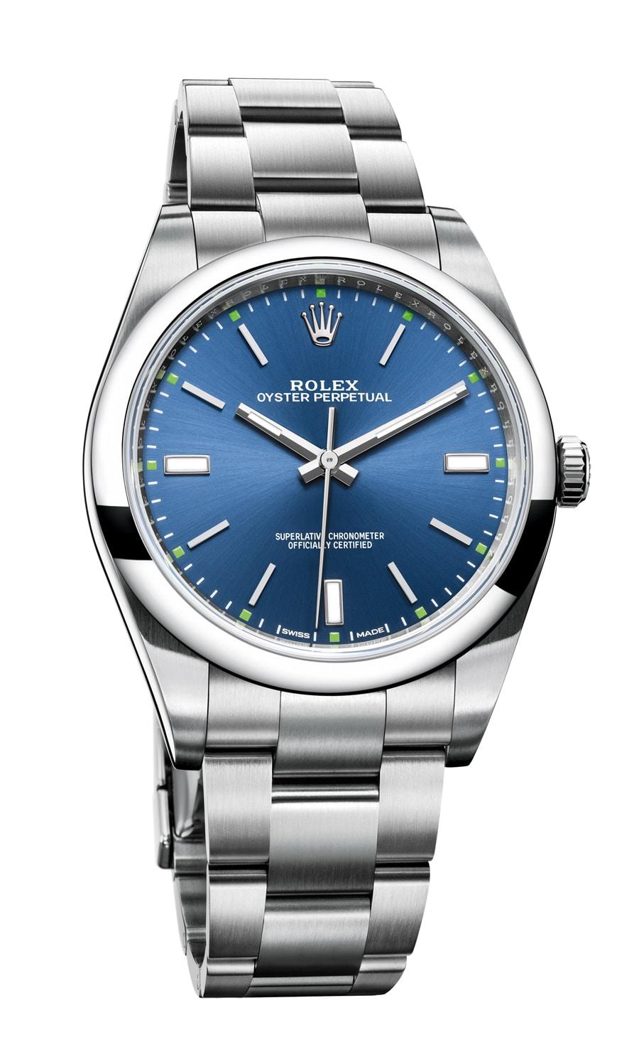 Rolex: Oyster Perpetual in Blau mit 39 Millimetern Durchmesser