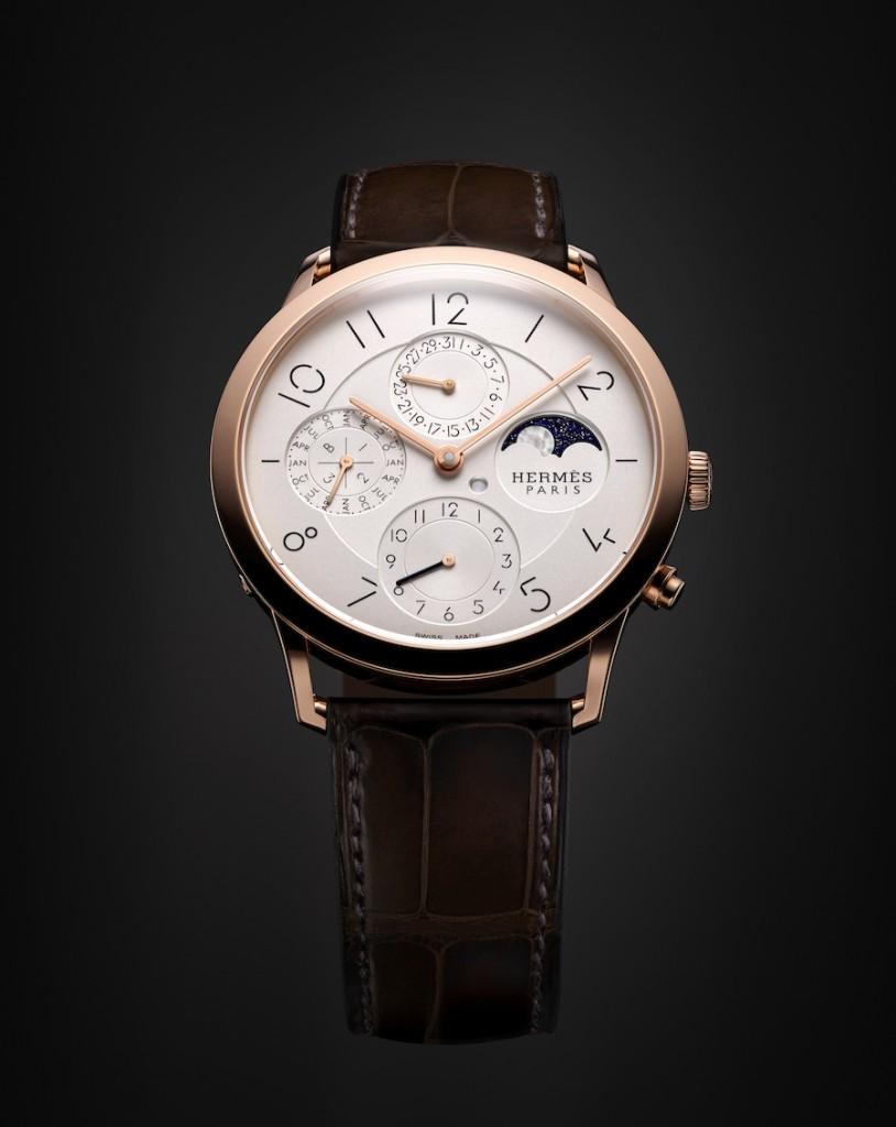Hermès: Slim d'Hermès Ewiger Kalender, mit zweiter Zeitzone und Tag-/Nachtindikation