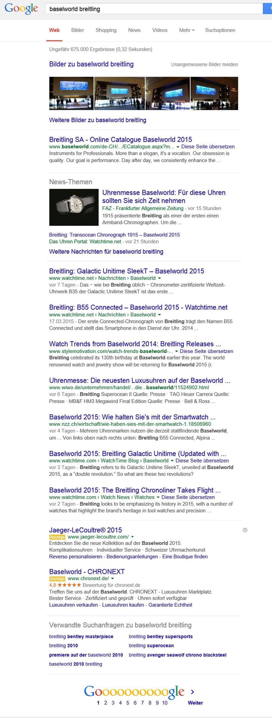 Suchergebnisse während der Baselworld 2015 für Breitling.