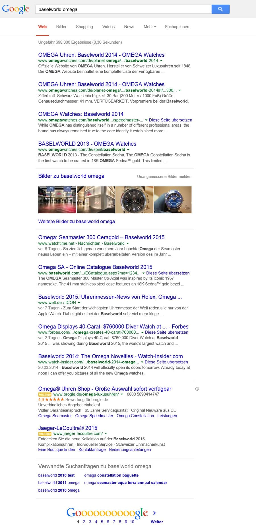 Wer nach Omega suchte, fand Watchtime.net auf der ersten Google-Suchergebnisseite.