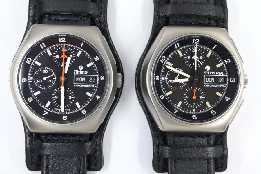 Aktuelle Serie (links) und Vorserie (rechts) des Titanchronographen.