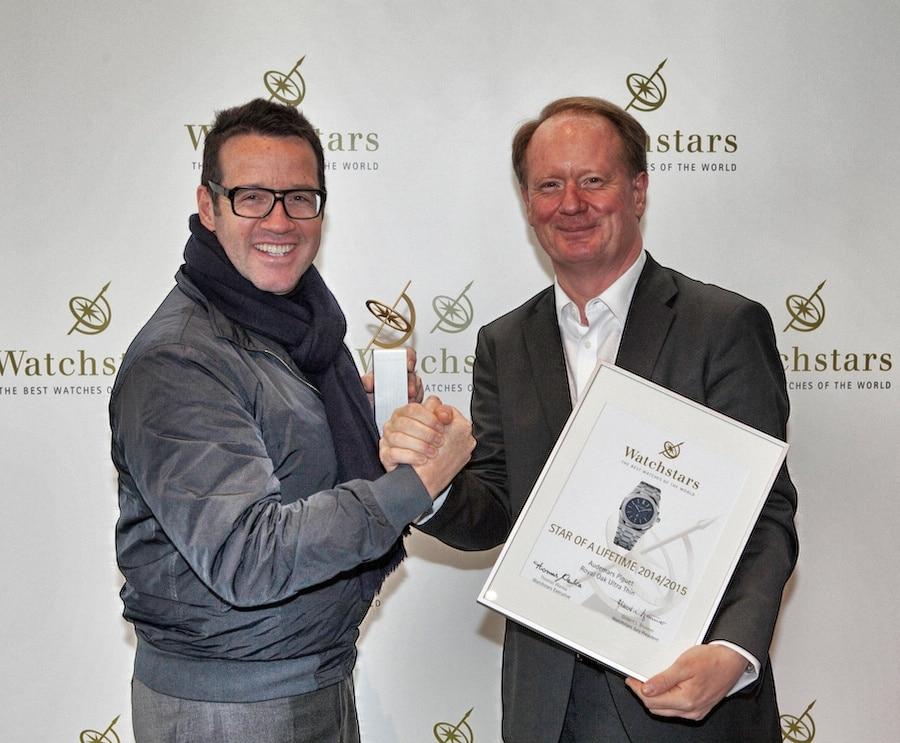 Audemars-Piguet-CEO François-Henry Bennahmias freut sich über den Star for a Lifetime der Watchstar Awards 2015.