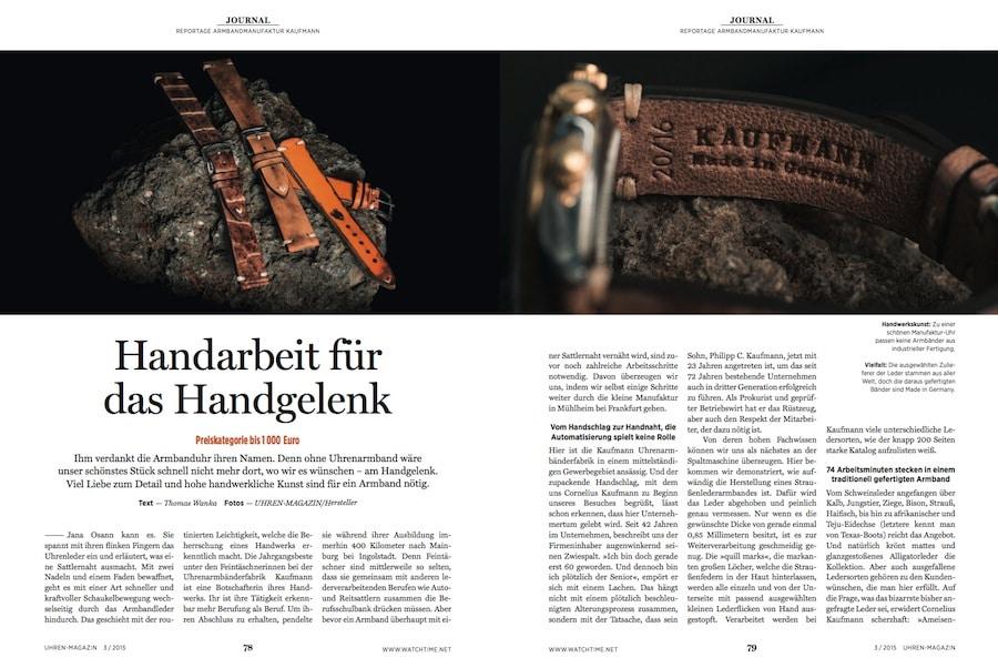 Die Armbandmanufaktur Kaufmann legt viel Wert auf traditionelle Handwerkskunst.