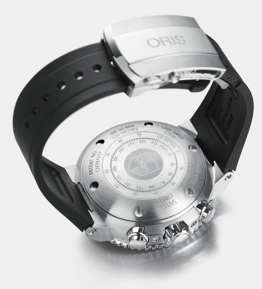 Oris: Aquis Depth Gauge Chronograph, Rückseite