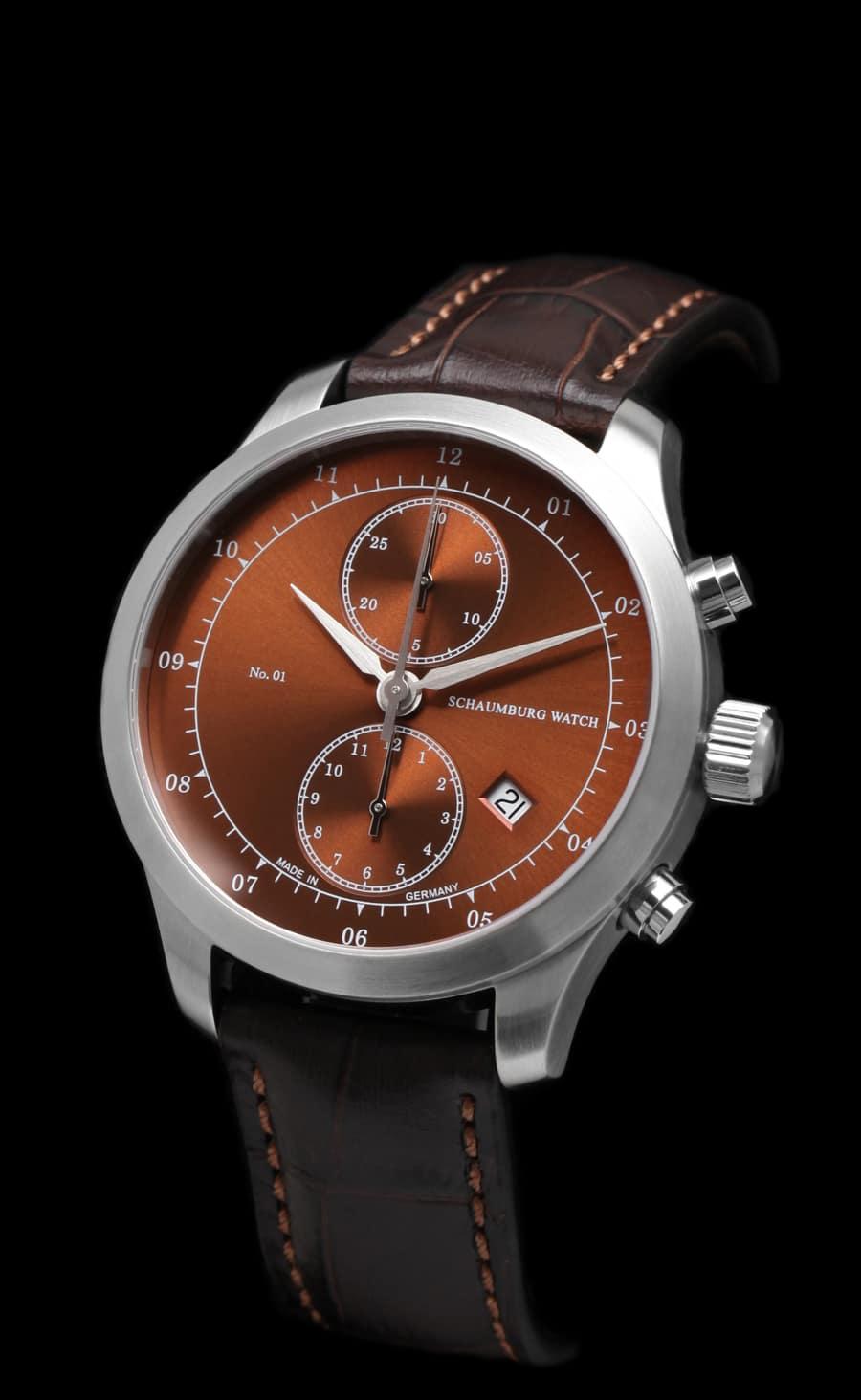Schaumburg Watch: Chronograph No.01, braunes Zifferblatt