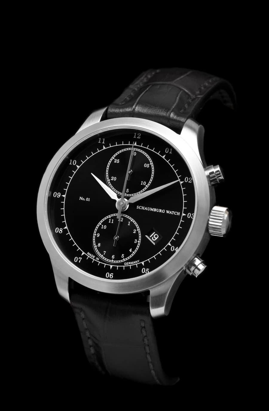 Schaumburg Watch: Chronograph No.01, schwarzes Zifferblatt