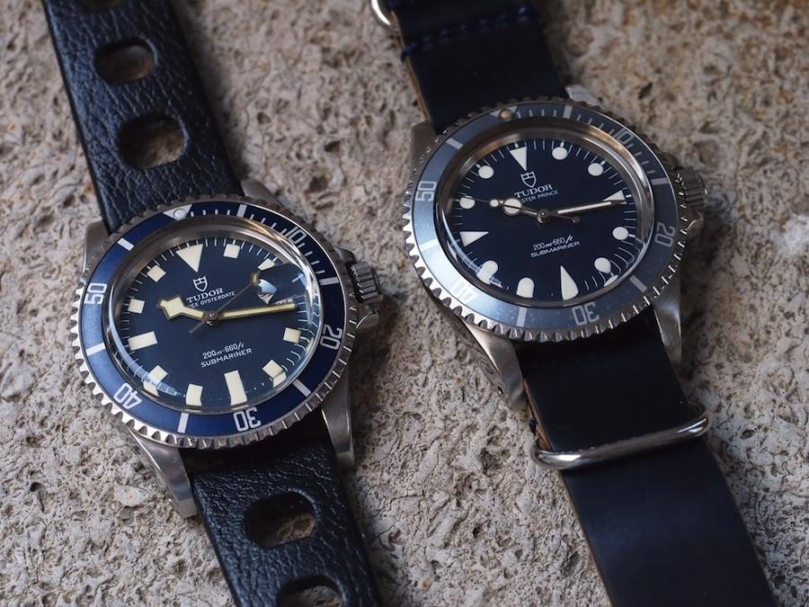Tudor Submariner mit Snowflake-Zeigern und Datum (links) und ohne (rechts)