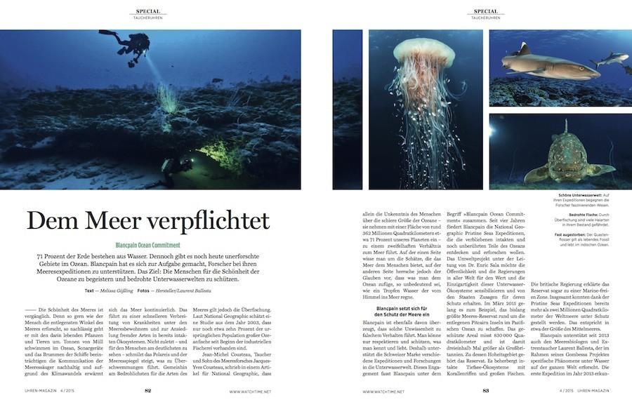 Die Geschichte der Taucheruhren auf 32 Extra-Seiten zeigt, wie die Eroberung der Weltmeere heute deren Schutz weicht.