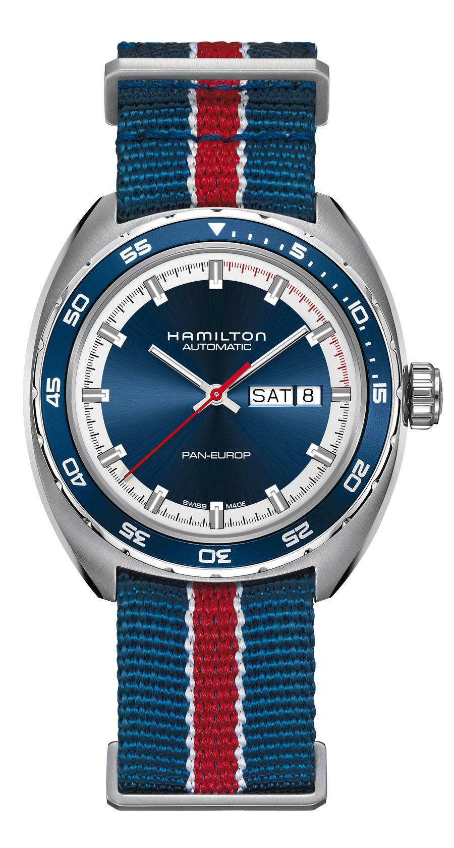 Hamilton: Pan Europ, Referenznummer H35405741 mit blauem Zifferblatt