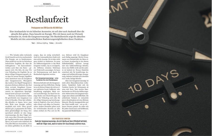 Die Marktübersicht Gangreserveanzeige listet 144 Uhrenmodelle mit allen Daten und Preisen übersichtlich auf.