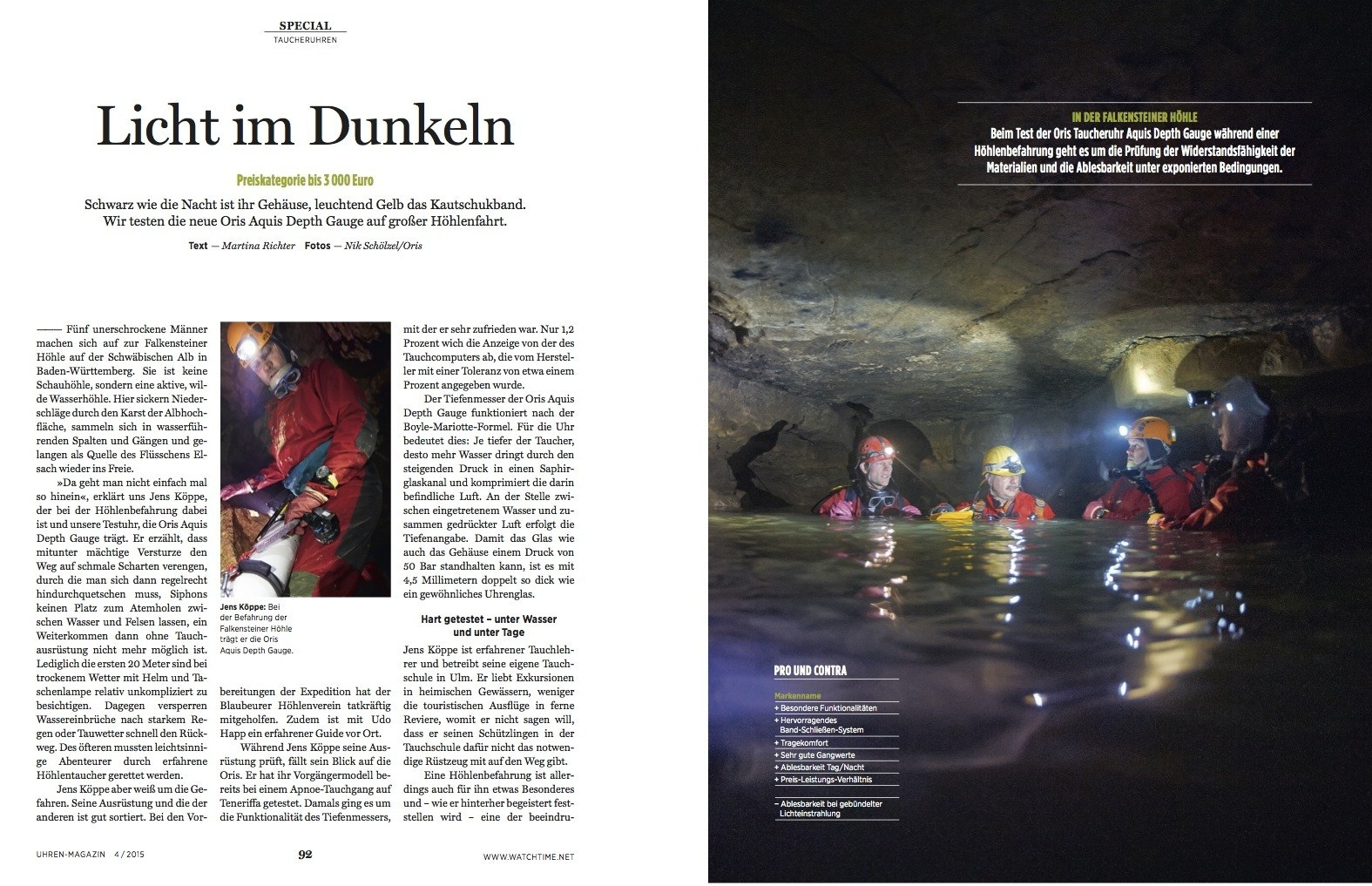 Die Taucheruhr mit Tiefenmesser von Oris besteht den Extremtest bei unserer Expedition in eine Felsenhöhle.