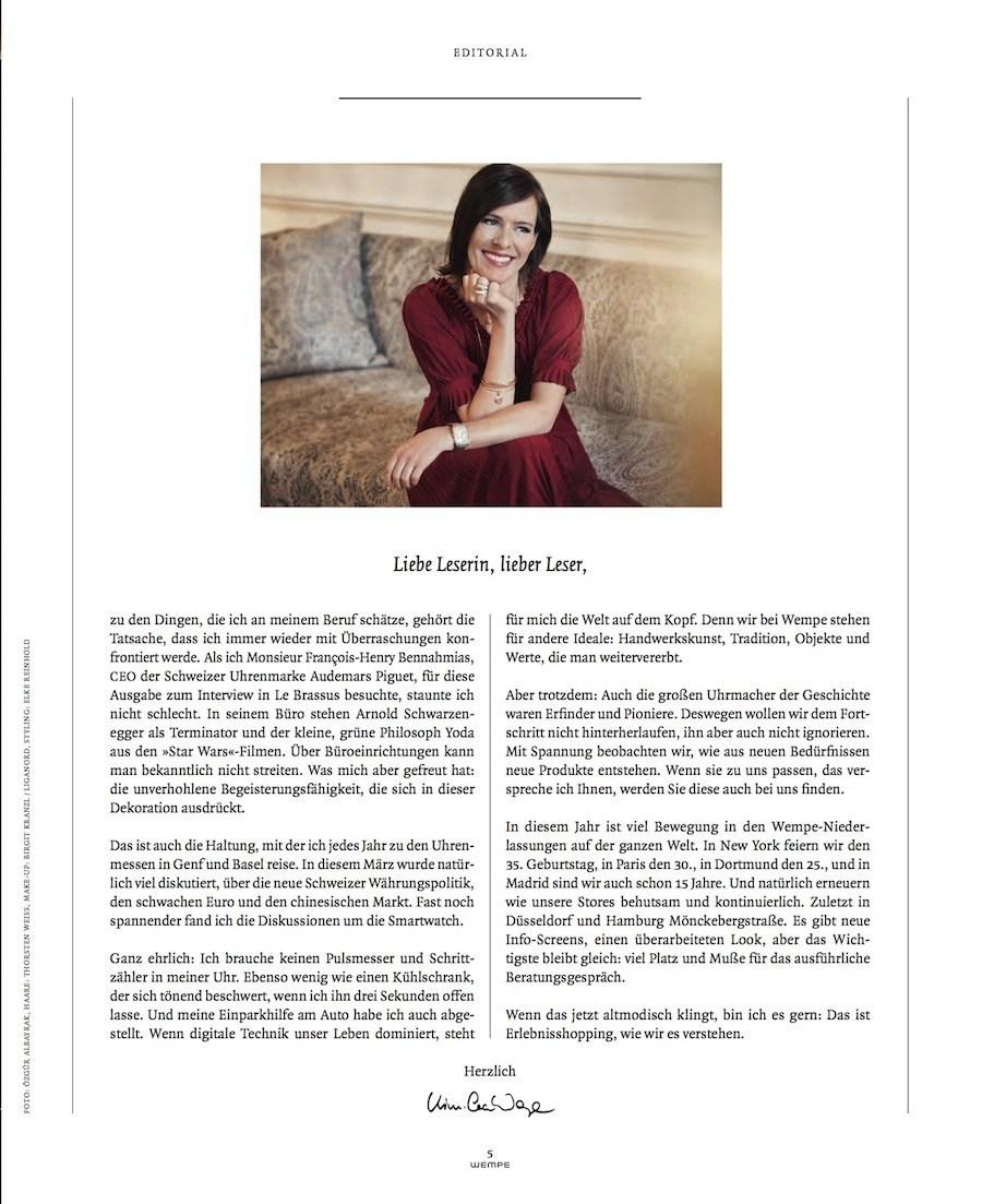 Firmeninhaberin Kim-Eva Wempe interviewt den CEO von Audemars-Piguet.