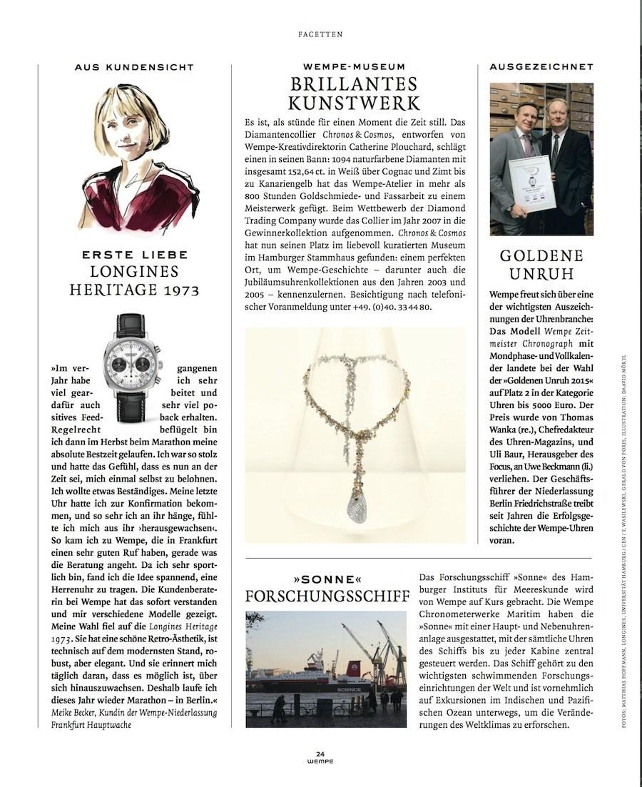 Die Goldene Unruh 2015 ist Gegenstand der Berichterstattung im neuen Wempe Magazin.