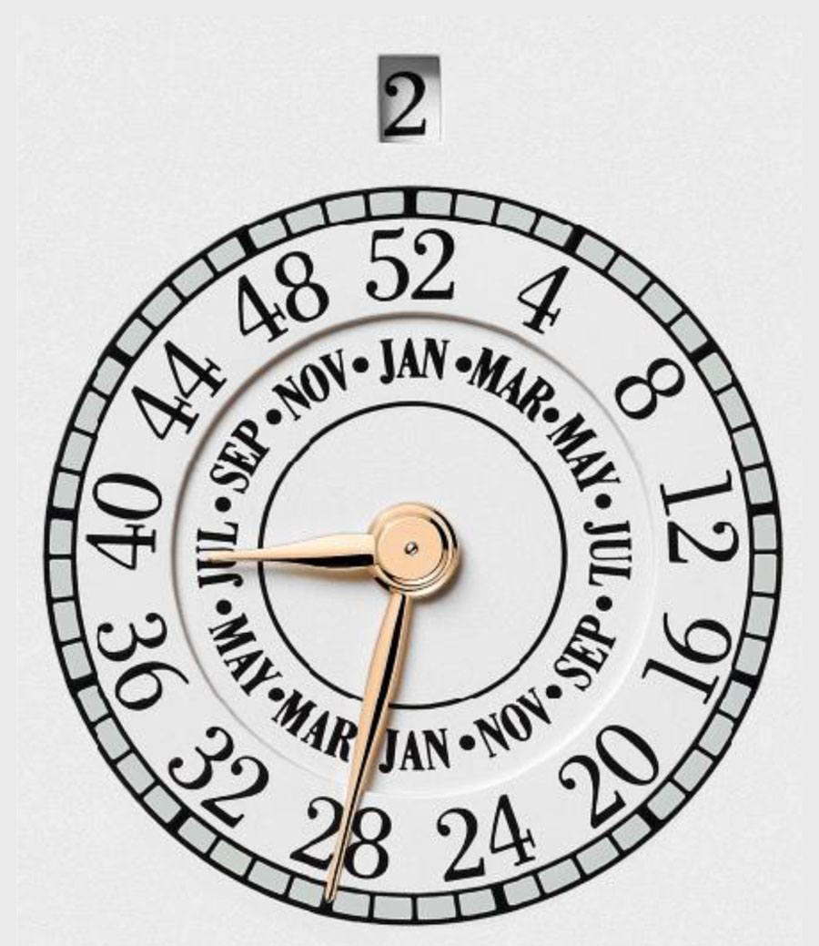 Vacheron Constantin: Doppelkalender zeigt die Monate und Kalenderwochen des Jahres an.