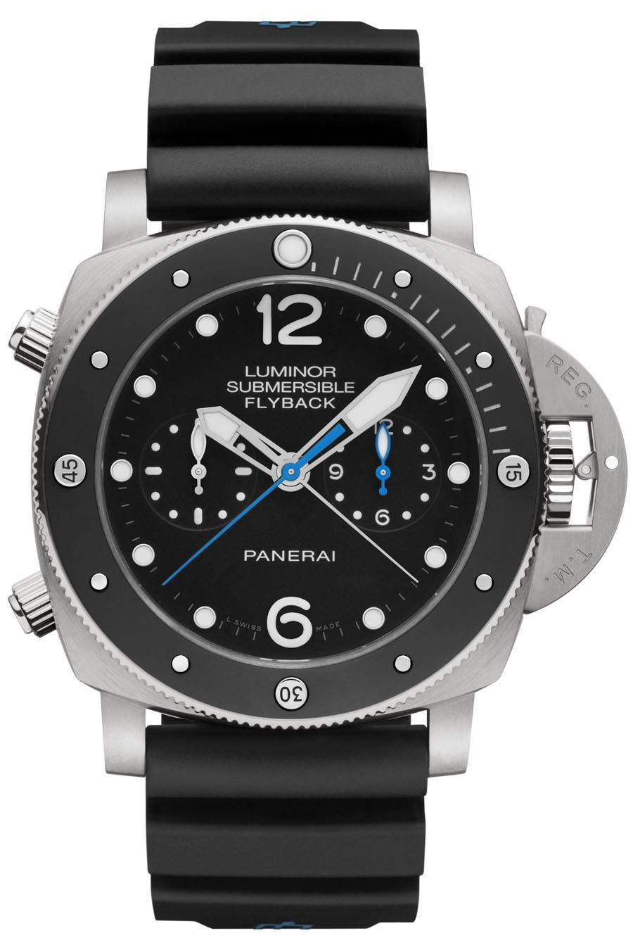 Taucheruhr 2015: Panerai Luminor Submersible 1950 3 Days Chrono Flyback Automatic Titanio