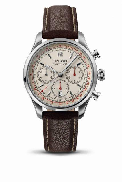 Union Glashütte: Belisar Chronograph, cremefarbenes Zifferblatt, braunes Lederband