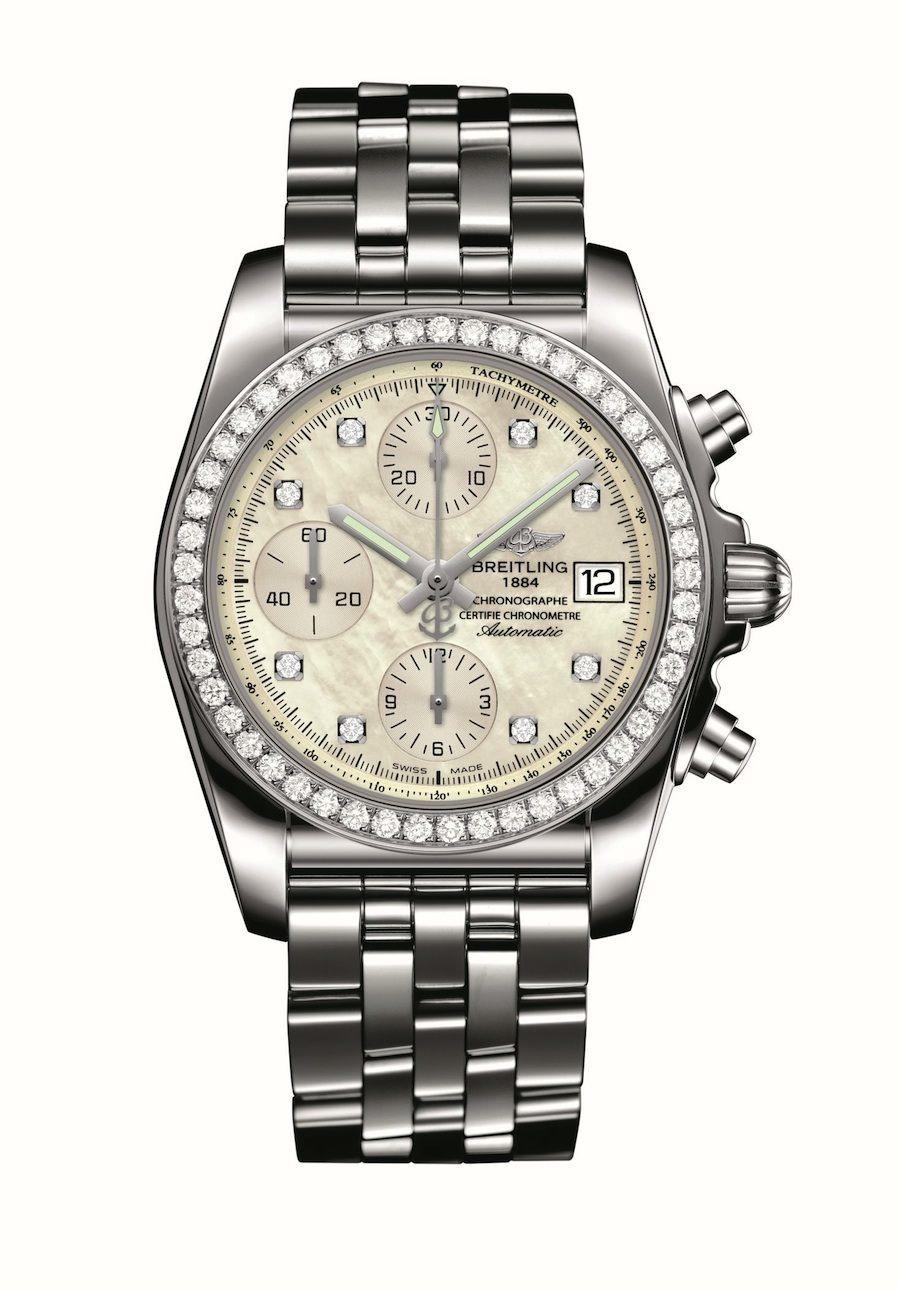 Breitling: Chronomat 38 SleekT mit Diamantlünette und Perlmuttzifferblatt