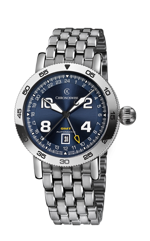 Chronoswiss: Timemaster GMT, blaues Zifferblatt und Edelstahlband